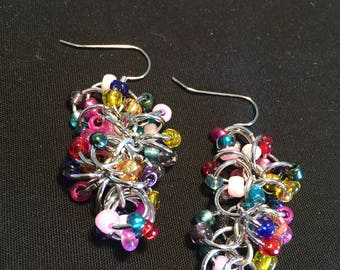 Rainbow Chain Mail Beaded Dangle Earrings
