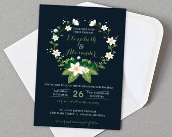 Printable Wedding Invitation, Floral Wedding Invite, DIY Wedding Invitation Printable, Wedding Invitation Suite, Wedding Invitation set 17