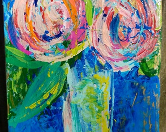 03 - Pink Flowers in a Yellow Vase on a Blue Background (20x7.5x1.5)