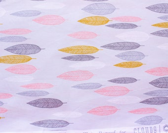 Cloud 9 Fabrics / Leaf Line-up First Light / Eloise Renouf/ Grey Pink / Organic Cotton Poplin / Sewing Dressmaking Quilting / Half Metre