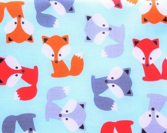 Robert Kaufman Fabrics, Cotton Fabric, Fox Fabric, Ann Kelle, Urban Zoologie, Sky Blue, Woodland theme, Cute little foxes, Half Metre