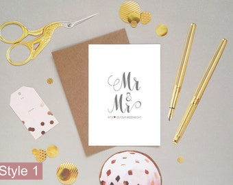 Mr and Mr with love on your wedding day card, to the happy couple, congratulations groom and groom, husband and husband, UK