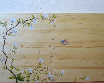 Beautiful White flowers headboard handpainted Bonito headboard of bed hand painted white flowers