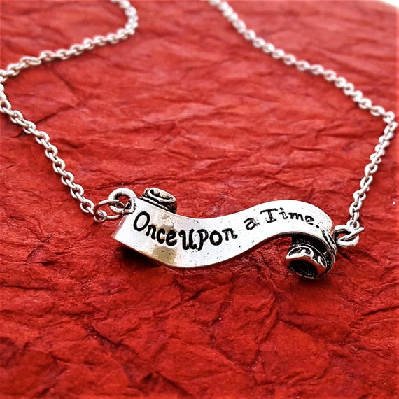 Once Upon a Time Jewelry, Gifts for Author Writer, Storyteller Banner Necklace, Teacher Gifts, Librarian Gift, Book Lover Charms Jewelry