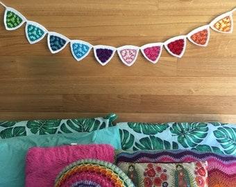 Handmade crochet rainbow flag bunting