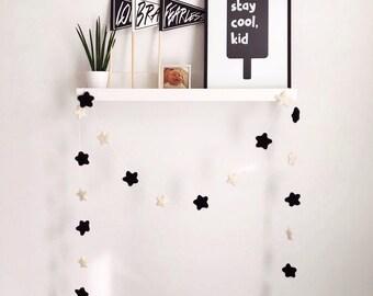 Black and white monochrome felt star hanging garland