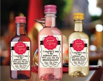 Mini Wine Labels Bridal Shower Favors Party Favor Mini Wine Bottle Labels Customized Wedding Engagement Ask Bridesmaids Mini Wine Labels