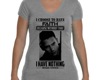 Michael Scofield Prison Break V-Neck T-Shirt For Woman, All Colors Available.
