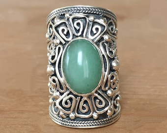 Jade and Silver Ring, Large Jade Ring, Sterling Silver and Jade Ring, Jade Ring, Large Silver Ring, Gemstone Ring, Gypsy Ring, Unique Ring
