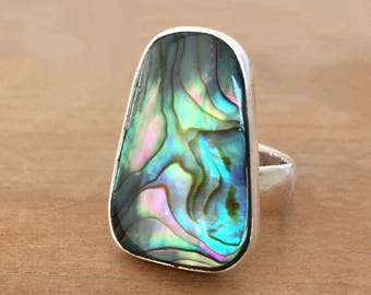 Mermaid Abalone and Sterling Silver Ring, Abalone Ring, Mermaid Ring, Paua Shell Ring, Adjustable Ring, Square Abalone Ring, Mermaid Jewelry