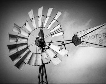 Rustic home decor, Rustic Wall Art, Farmhouse Art, Nature Photography,  black and white photography, farmhouse photo, Windmill