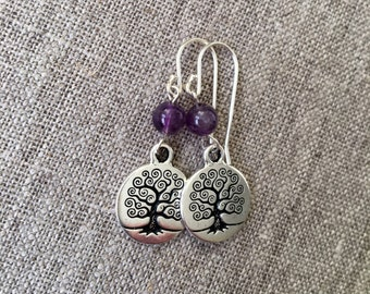 Amethyst Tree of Life earrings / Amethyst beads with silver plated Tree of Life / Celtic Tree of Life / Sterling ear wires