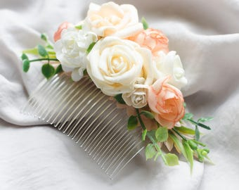 Bridal hair comb Rustic hairpiece Bridesmaid hairpiece Wedding hair comb Wedding hair accessory Flower hair comb First communion hairpiece