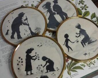 Peter Bates miniatures,Edwardian Four Seasons silhouettes,vintage pictures,Marcelle Shears silhouette,silhouette pictures,vintage wall decor
