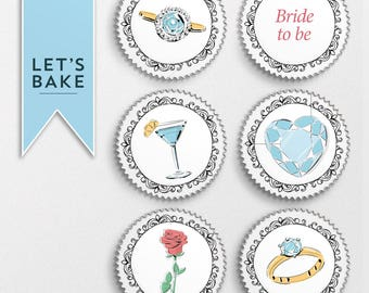 Bride to be cupcake toppers, bridal shower, hen do, engagement party.