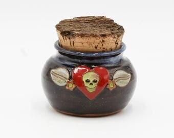 Skull & Heart Stash Jar | Stash Jar | Herb Jar | Cork Jar | Pottery | Ceramic | Stoneware | Pottery Cork Jar | Ceramic Cork Jar