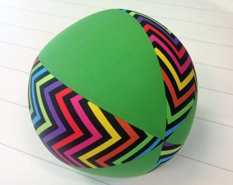 Balloon Ball FabricBalloon Ball Cover, Portable Ball, Travel Ball, Inflatable, Sensory, Special Needs, Chevrons, Green, Kids, Eumundi Kids
