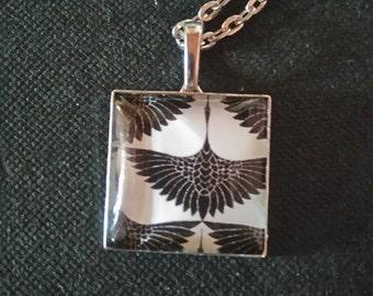 """Medallion square silver, """"birds in flight"""""""