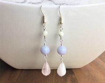 Rose quartz earrings, gemstone earrings, blue lace agate earrings, mother of pearl earrings, dangle earrings, pastel earrings
