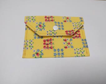 Patchwork small purse - coin wallet  - business card holder - gift card holder - popper fabric wallet - floral gifts