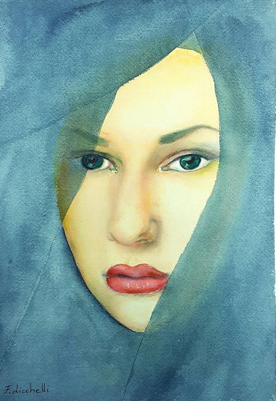 Woman portrait, original watercolor by Francesca Licchelli, ooak, gift idea for birthday, wall art, home decoration for bedroom, living room