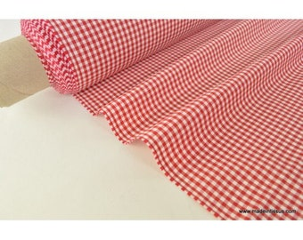 Tissu vichy polyester coton rouge et blanc