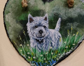 Slate, wall hanging, decoration,hand painted westhighland terrier, westie.