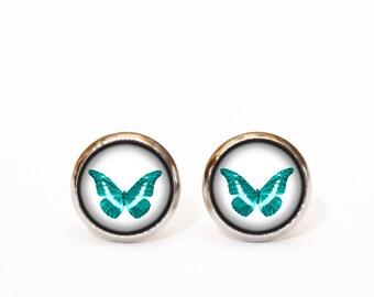 Turquoise Earrings, Turquoise Butterfly Earrings, Elegant Earrings, Minimal Earrings, Everyday Simple Earrings, Christmas Gift, Gift for Her