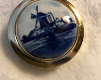 Hand painted Blue Windmill pill box  gold tone