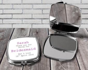 Bridesmaid gift, Bridesmaid compact mirror, Personalised compact, Pocket mirror, Personalised mirror, Thank you Keepsake gift,