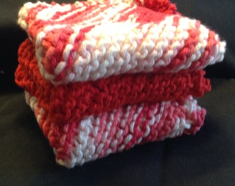 Knitted Dishcloths Set of 3 - Azelea/Red