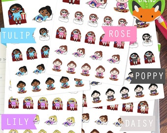 Me Party Kawaii Girl Single Girl Me Time Movies Chocolate Sticker Set - Planner Stickers - ...