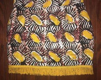 African Skirt w. Fringe (Yellow)