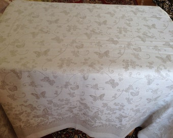 """Large Linen Tablecloth With Pattern """"Butterflies"""" (150 x 250 cm) 60 x 100 inches. Trimmed Edges"""