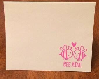 Set of 8 Bee Mine Valentine Notes