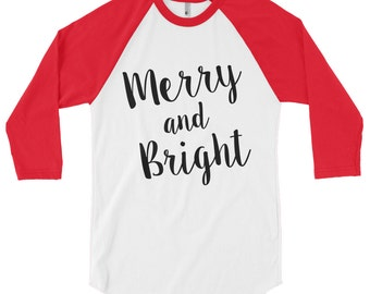 Merry and bright shirt - Christmas raglan, Christmas raglan shirt, Christmas baseball tee, Christmas baseball shirt, Christmas shirt women