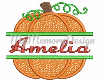 Pumpkin Embroidery Design - Halloween embroidery design - Pumpkin Applique - Split Pumpkin Digital File - INSTANT DOWNLOAD - 4x4 5x7 6x10