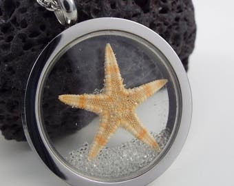 Glass Locket necklace with starfish