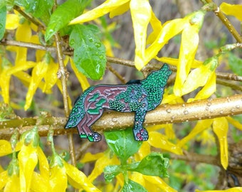One With Nature Howling Wolf pin