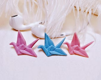 Clay Origami Crane Brooch