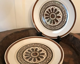 """Vintage Cavalier Ironstone Brown Floral """"Monterey"""" Pattern 10 Inch Dinner Plates Set of 4 