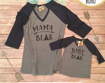 Mama Bear Shirt Set, Mommy and Me Shirts, Mommy and Me Outfits, Mom and Son Shirts, Mom and Daughter Shirts, Family Shirts, Baby Bear Shirt