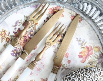 4 covered former former fish french, brass and mother-of-Pearl, knife and fork