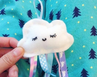 Dreamy Stuffed Clouds Tulle and Ribbon Raindrops Plush Plushie keychain