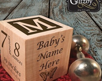 Custom Made Personalised Engraved Wooden Baby Block Gift Christening Block Newborn Baby Boy Girl Gift Custom Twin Gift