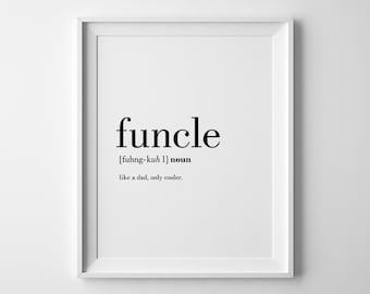 Funcle, Best Uncle Ever, Uncle To Be Gift, Uncle Printable, New Uncle, Gifts For Uncle, Funcle Definition