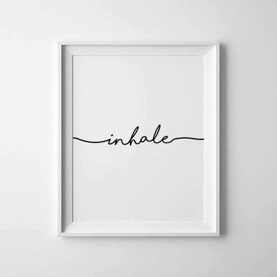 Inhale Exhale Print Yoga Wall Art Prints Pilates Relaxation Gifts Breathe