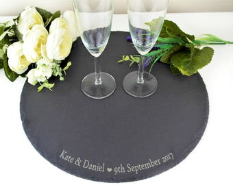 Personalised Wedding Cake Stand, Engraved Slate Wedding Cake Stand, Unique Wedding Cake Stands, Wedding Details, 35cm Cake Stand