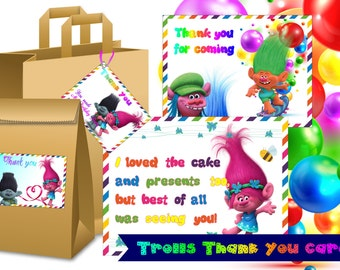Trolls Inspired Tags Trolls Thank you tags Trolls Thank You Cards Trolls Thanks Cards Trolls Tag Trolls Birthday Card Trolls Thanks Tags
