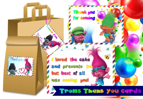 Cute Trolls Thank You Labels